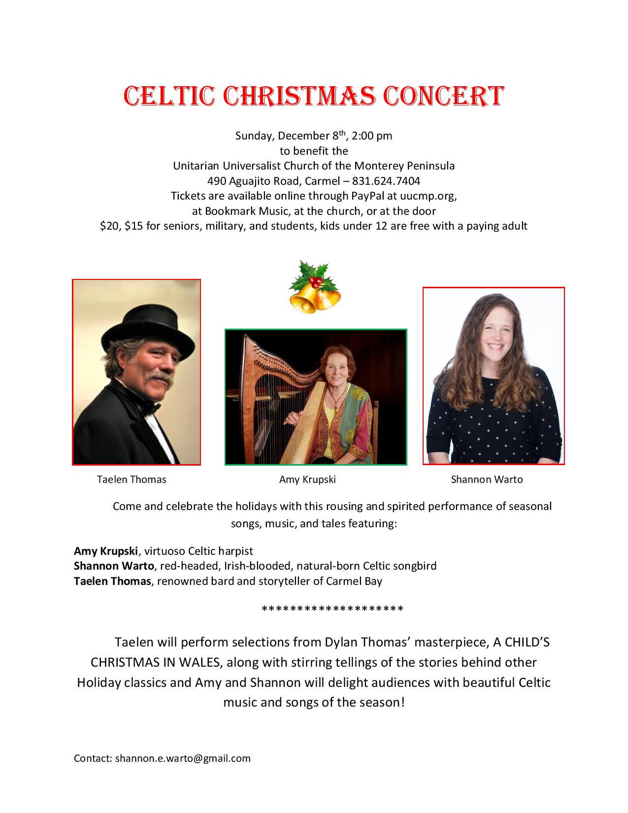 Celtic Christmas Concert Dec 8th at 2 PM